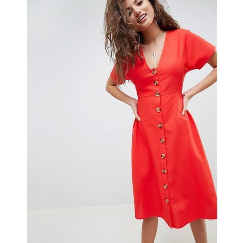 design button through midi casual skater dress - red marki Asos