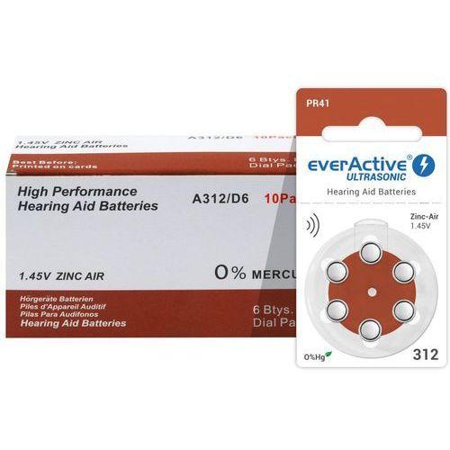 Everactive 60 x baterie do aparatów słuchowych ultrasonic 312