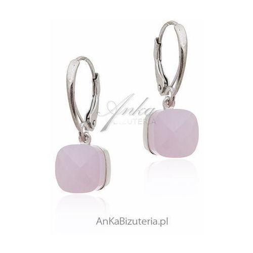 Kolczyki srebrne z różowym agatem, kolor różowy