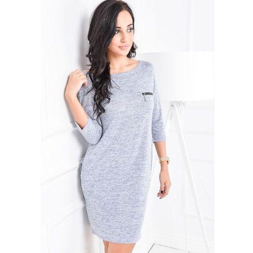 Melanżowa sukienka bombka z kieszeniami
