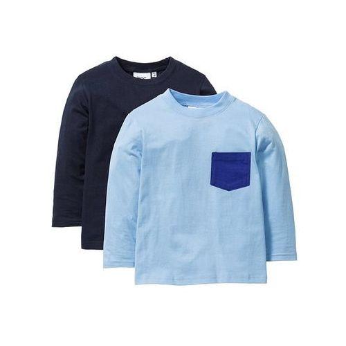 Koszulki z długim rękawem i kieszonką (2 szt.) bonprix ciemnoniebieski + jasnoniebieski, kolor niebieski