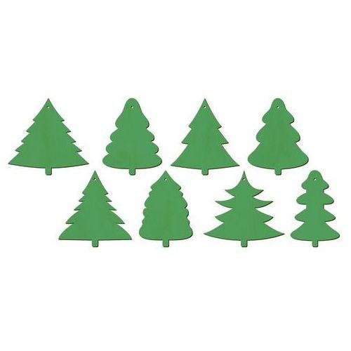 Zawieszki drewniane zielone choinki na Boże Narodzenie - 8 szt. (5907509922497)