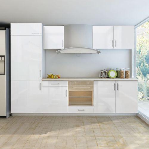 Vidaxl meble kuchenne białe wysoki połysk 7 cz. z zabudową pod lodówkę 270 cm (8718475910145)