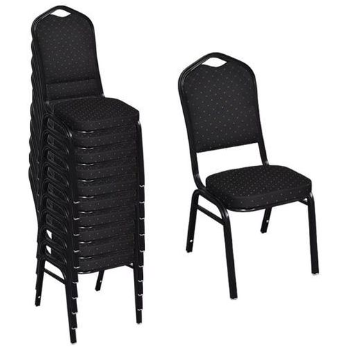 Krzesła do jadalni, 10 szt., sztaplowane, materiałowe, czarne, kolor czarny