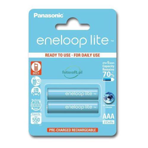 Panasonic 2 x akumulatorki eneloop lite r03 aaa 550mah bk-4lcce/2be (blister) (5410853052753)