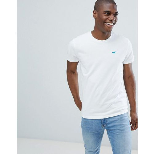 Hollister solid core crew neck t-shirt with seagull logo slim fit in white - white