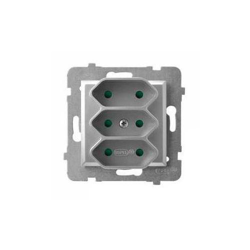 Aria gniazdo potrójne euro z przesłonami torów prądowych bez ramki srebro gp-3up/m/18 marki Ospel