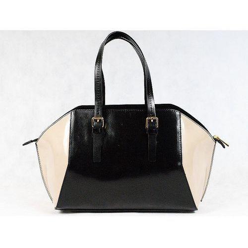 Vera pelle włoska torebka kuferek sórzany czarny - czarny