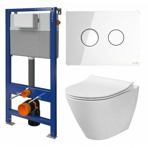 Cersanit City Set B30 Oval miska WC CleanOn z deską woln. Slim i stelaż Aqua z przyciskiem Accento Circle szkło białe S701-322