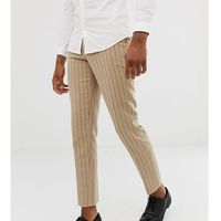 ASOS DESIGN Tall skinny crop smart trouser in stone pinstripe wool mix - Stone, wełna