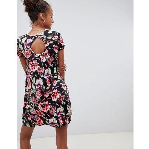 swing dress with keyhole back in dark floral print - black, Brave soul, 32-36