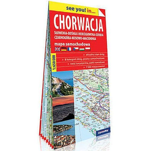 Chorwacja Słowenia, Bośnia i Hercegowina, Serbia, Czarnogóra, Kosowo, Macedonia papierowa mapa samochodowa 1:650 000 - Praca zbiorowa, Expressmap