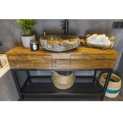 Szafka łazienkowa, stare drewno sosnowe + stalowa rama