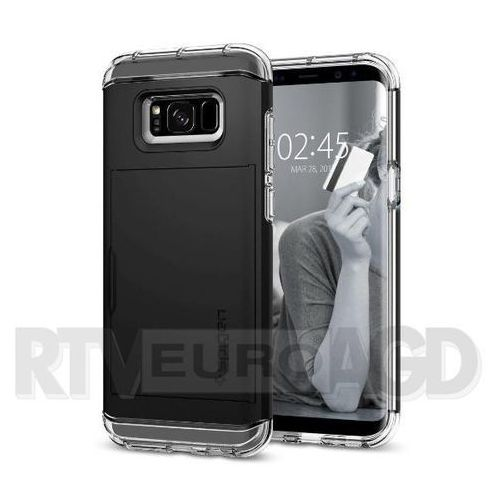 Spigen Crystal Wallet 571CS21116 Samsung Galaxy S8+ (czarny) - produkt w magazynie - szybka wysyłka!, kolor czarny