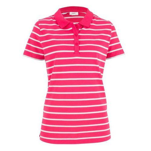 Shirt polo w paski, krótki rękaw różowy hibiskus - biały w paski marki Bonprix