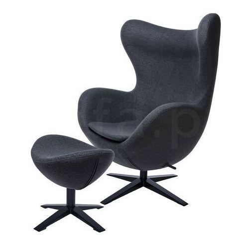 Sofa.pl Fotel egg szeroki black z podnóżkiem ciemny szary.27 - wełna, podstawa czarna