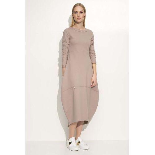 Cappuccino Sukienka Asymetryczna Bombka Midi z Długim Rękawem, kolor brązowy