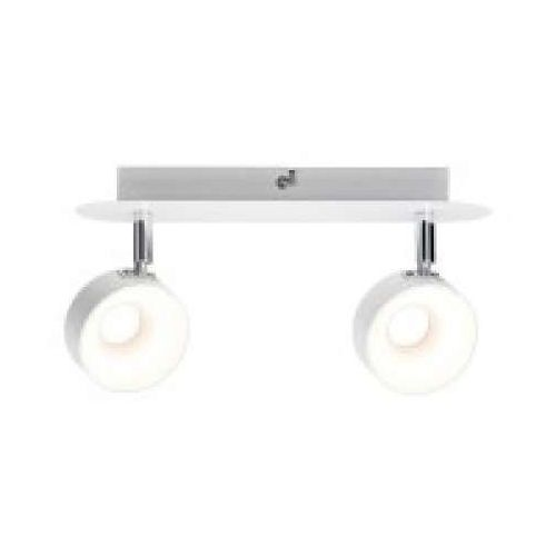 2-lampowy reflektor led funnel 2x6w z funkcją ściemniania matt biały / chrom, 66733 marki Paulmann