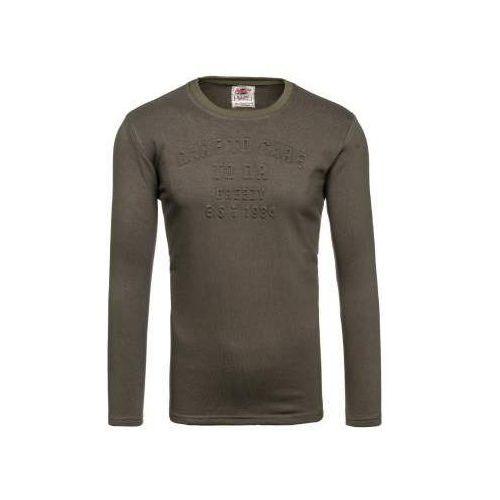Bluza męska bez kaptura z nadrukiem khaki denley 9096, Breezy