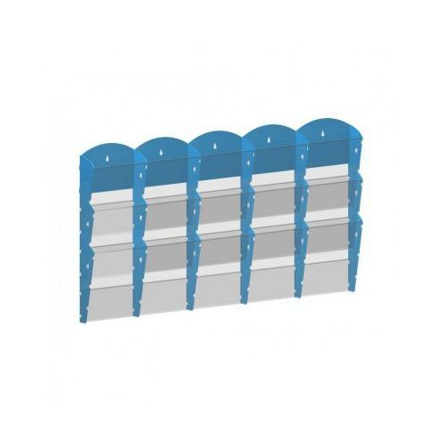 B2b partner Plastikowy uchwyt ścienny na ulotki - 5x3 a4, niebieski
