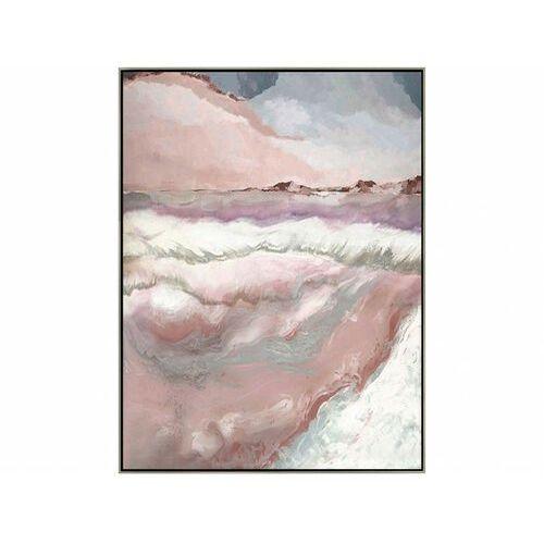 Vente-unique Obraz olejny felicite ręcznie malowany, złota rama – 60 × 90 cm – kolor różowy