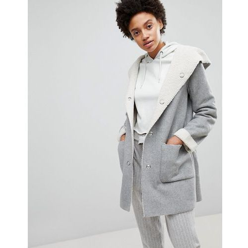 Stradivarius Contrast Faux Fur Shearling Jacket - Grey, kolor Grey