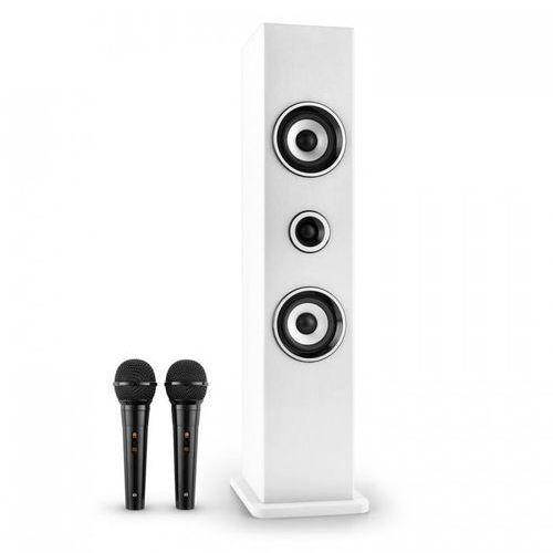 Auna Karaboom głośnik bluetooth usb aux karaoke 2 x mikrofon biały