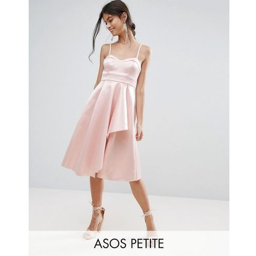 ASOS PETITE Satin Scuba Seamed Waterfall Debutante Midi Dress - Pink