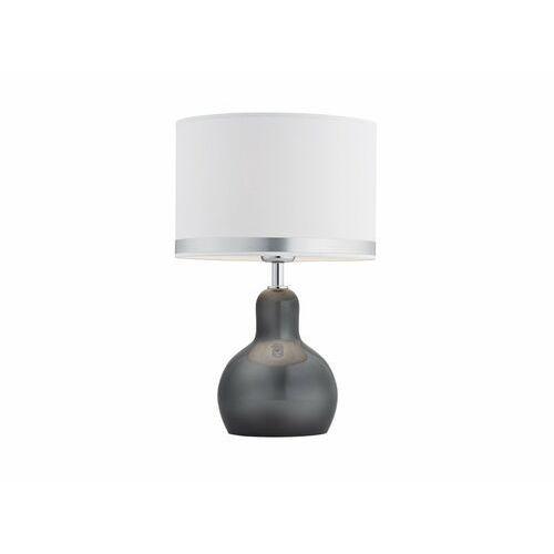 Mdeco Stojąca lampka nocna loara 3043 okrągła lampa abażurowa na stół biała przydymiona (5908259944685)