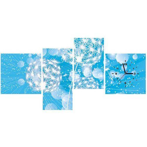 Zegar w obrazie - Dmuchawce na abstrakcyjnym błękitnym tle