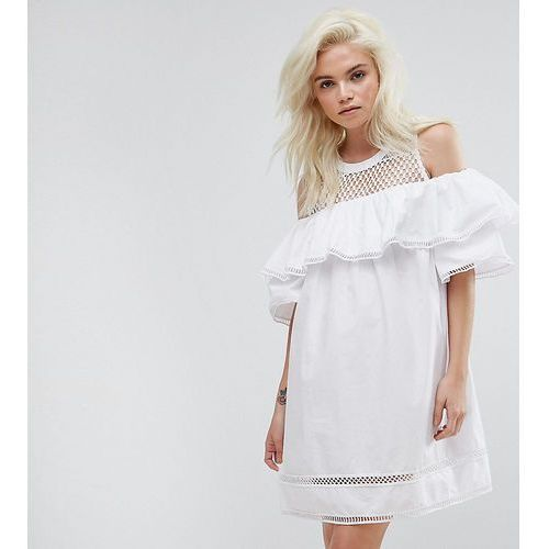 cold shoulder mesh dress - white, New look petite