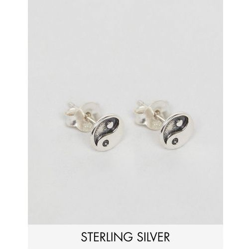 Reclaimed vintage  inspired earrings in sterling silver with yin yang - silver