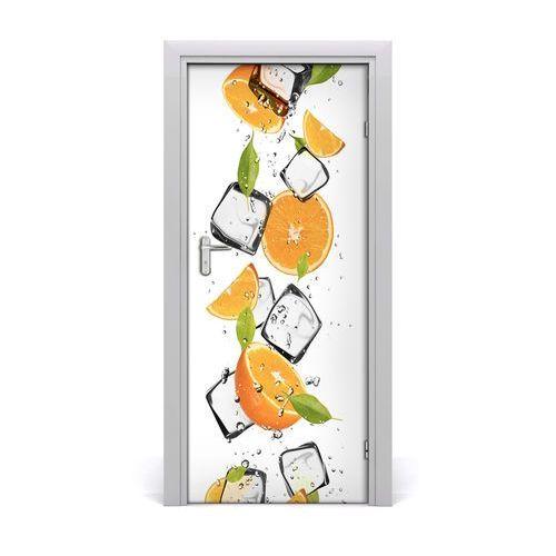 Naklejka na drzwi samoprzylepna Pomarańcze i lód