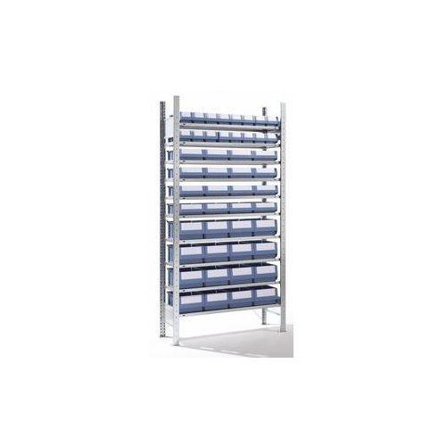 Eurokraft Regał wtykowy ze skrzynkami regałowymi,48 skrzynek, 10 półek, głęb. 336 mm