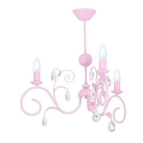 Dziecięca lampa sufitowa mia mlp 1069 świecznikowa oprawa z kryształkami crystal jasnoróżowa marki Milagro