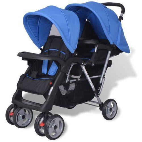 vidaXL Wózek spacerowy dla bliźniąt, tandem niebiesko-czarny