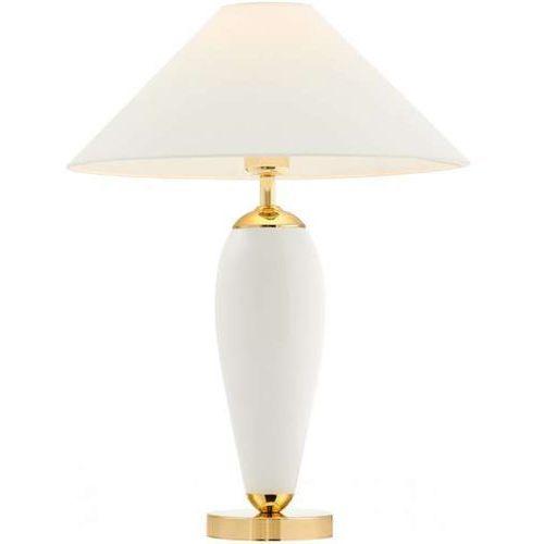 Kaspa Abażurowa lampka biurkowa rea 40608101 stojąca lampa stołowa do sypialni nocna złota biała