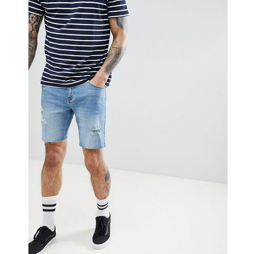 slim fit denim shorts in light blue with rips and abrasion - blue marki Bershka