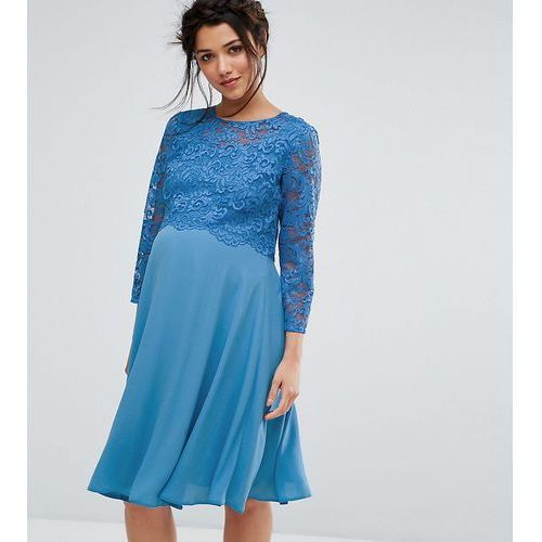 Queen Bee Lace Overlay Midi Swing Dress With 3/4 Sleeve - Blue, kolor niebieski