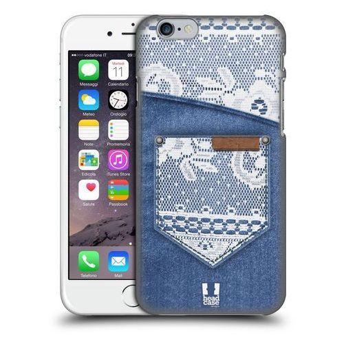 Etui plastikowe na telefon - Jeans and Laces WHITE LACE ON DENIM POCKET