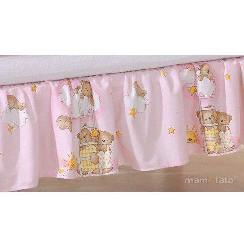 Mamo-tato falbanka drabinki z misiami na różowym tle