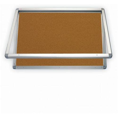 2x3 Gablota z oświetleniem led korkowa 90x60 z drzwiczkami z pleksi
