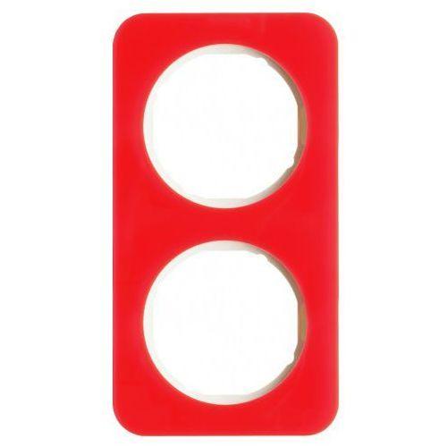 Ramka 2-krotna Berker R.1 akryl przeźroczysty czerwony/biały