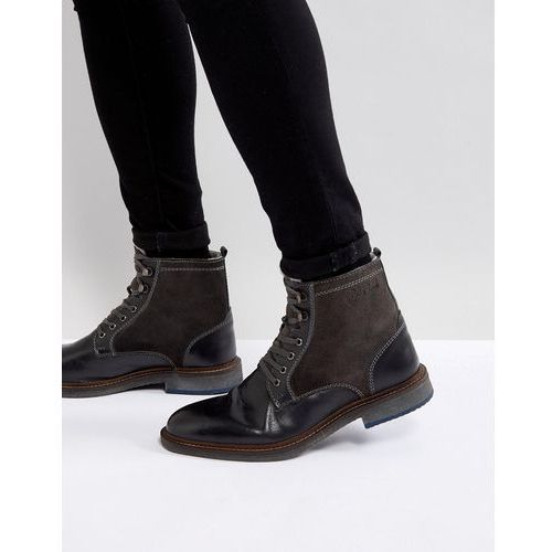 leather mix warm lining boots in black - black marki Pier one