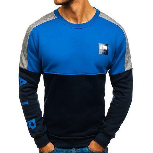 Bluza męska bez kaptura z nadrukiem granatowo-niebieska denley hy313 marki Red fireball