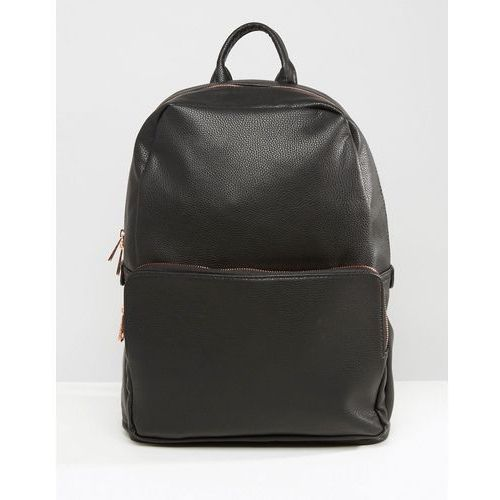 Asos  backpack in black faux leather with rose gold zip - black