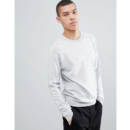 River island crew neck jumper with wasp embroidery in light grey - grey