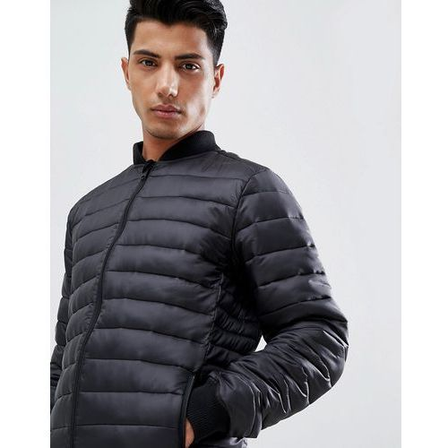 Threadbare knitted collar quilted jacket - black