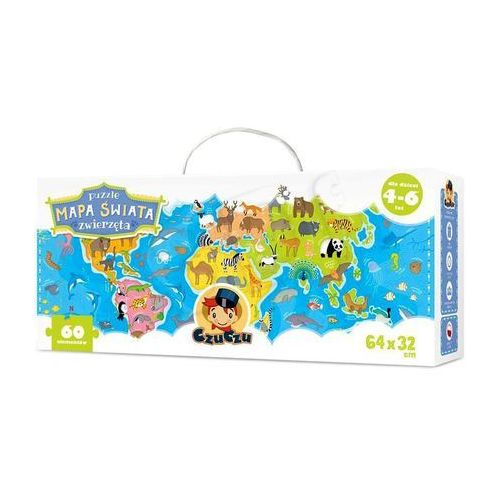 Bright junior media Czuczu puzzle mapa świata zwierzęta 60 elementów
