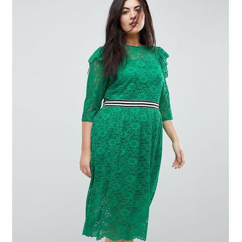 ASOS CURVE Midi Lace Tea Dress With Sports Tipping - Green, kolor zielony